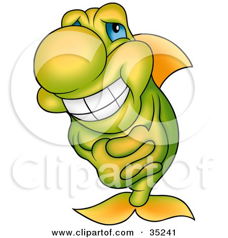 Clipart Illustration of a Gradient Yellow And Green Fish With Blue Eyes, Grinning And Clasping His Hands by dero