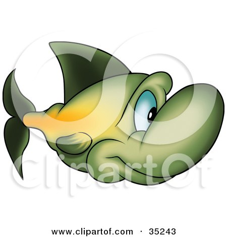 Clipart Illustration of a Gradient Green And Yellow Fish With A Big Nose And Blue Eyes by dero