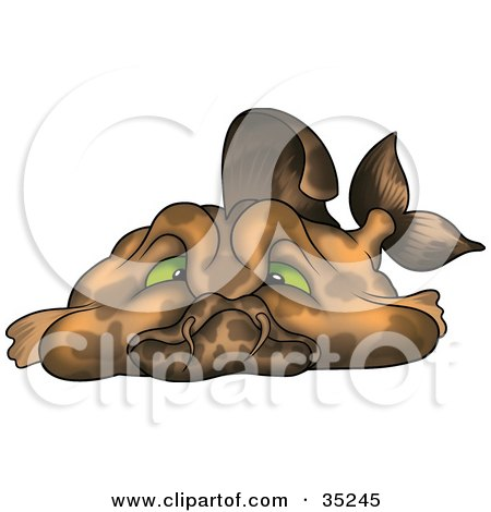 Clipart Illustration of a Lazy Fat Brown Fish With Green Eyes, Sulking by dero