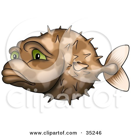 Clipart Illustration of a Sad And Lonely Brown Puffer Fish With Green Eyes by dero