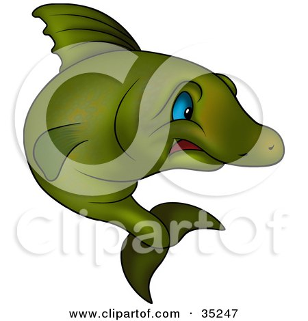 Clipart Illustration of a Scared Green Fish With Blue Eyes by dero