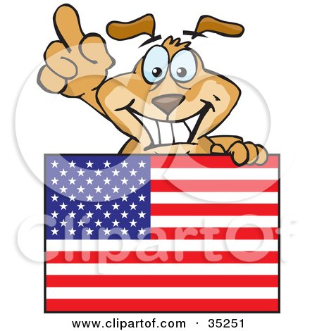 Clipart Illustration of a Friendly And Smiling Brown Dog Pointing Up And Standing Behind An American Flag by Dennis Holmes Designs