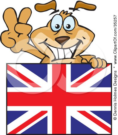 Clipart Illustration of a Friendly British Dog Gesturing The Peace Sign And Standing Behind A Union Jack Flag by Dennis Holmes Designs