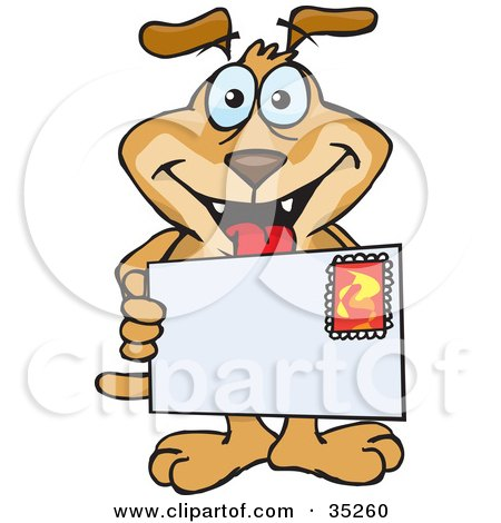 Clipart Illustration of a Grinning Brown Dog Holding A Stamped Letter Envelope With Blank Space For You To Insert Your Text by Dennis Holmes Designs