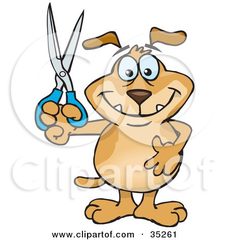 Clipart Illustration of a Smiling Brown Dog Holding Up A Pair Of Scissors, Doing Arts And Crafts, Slashing Prices Or Cutting Coupons by Dennis Holmes Designs