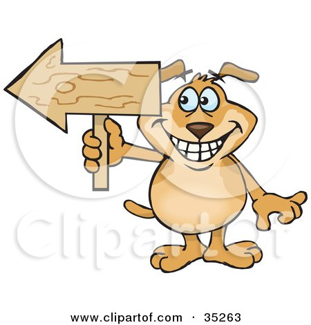 Clipart Illustration of a Grinning Brown Dog Holding A Blank Wooden Arrow Sign Pointed To The Left, With Space For You To Insert Your Text On The Arrow by Dennis Holmes Designs