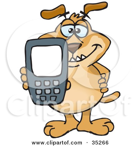 Clipart Illustration of a Smiling Brown Dog Holding Out A Calculator Or Cell Phone With A Blank Screen For You To Enter Text by Dennis Holmes Designs