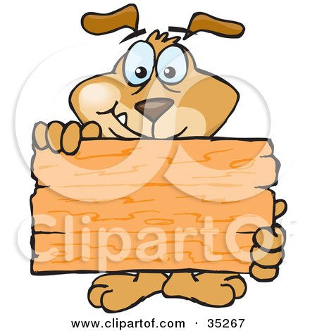 Clipart Illustration of a Friendly Brown Dog Standing Behind And Holding Up A Blank Wooden Sign, Ready For You To Insert Your Own Text by Dennis Holmes Designs