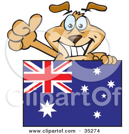 Clipart Illustration of a Friendly Brown Dog Grinning And Waving While Standing Behind An Australian Flag by Dennis Holmes Designs