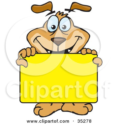 Clipart Illustration of a Smiling Brown Dog Holding Up A Blank Yellow Sign Board, Ready For You To Insert Text by Dennis Holmes Designs