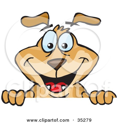 Clipart Illustration of a Hyper Brown Dog Peeping Up From Over A Surface by Dennis Holmes Designs