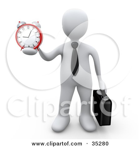Clipart Illustration of a White Businessman Wearing A Tie, Carrying A Briefcase And Holding Out An Alarm Clock In His Hand by 3poD
