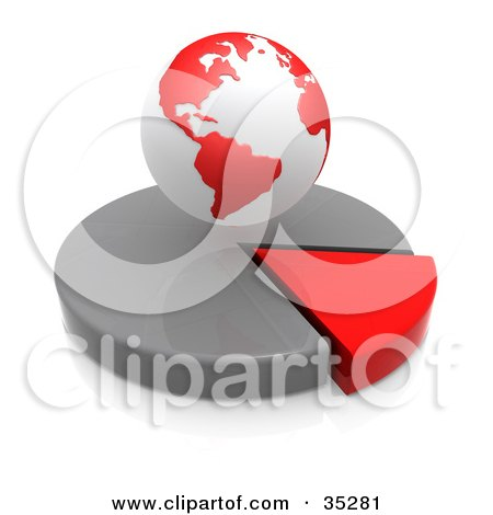 Clipart Illustration of a Red And White Hovering Over A Red And Gray Pie Chart by 3poD
