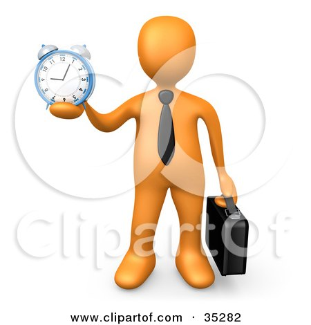 Clipart Illustration of an Orange Businessman Wearing A Tie, Carrying A Briefcase And Holding Out An Alarm Clock In His Hand by 3poD