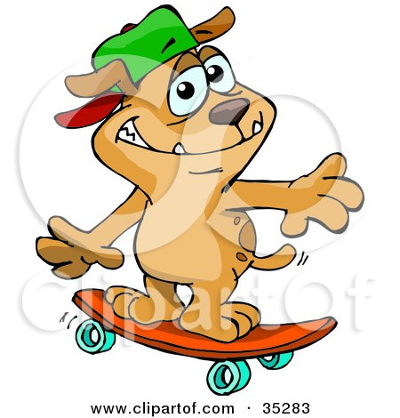 Clipart Illustration of a Sporty Brown Dog Wearing A Hat And Skateboarding by Dennis Holmes Designs