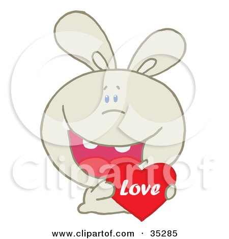 Clipart Illustration of a Caring Beige Rabbit Laughing And Holding a Red Heart Love Valentine by Hit Toon