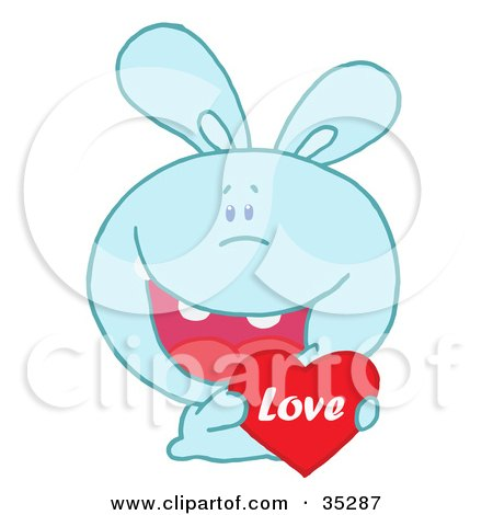 Clipart Illustration of a Caring Blue Rabbit Laughing And Holding a Red Heart Love Valentine by Hit Toon