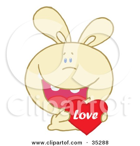 Clipart Illustration of a Caring Yellow Rabbit Laughing And Holding a Red Heart Love Valentine by Hit Toon