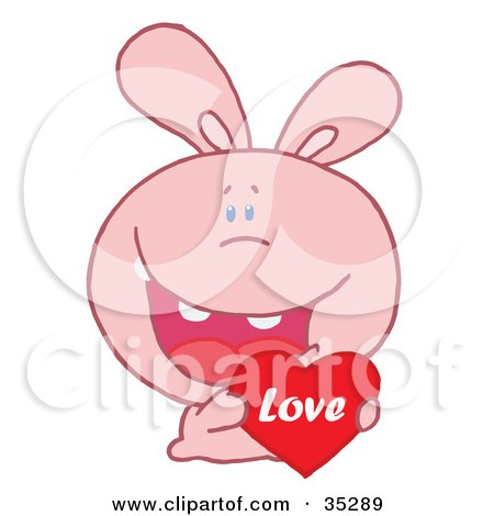 Clipart Illustration of a Caring Pink Rabbit Laughing And Holding a Red Heart Love Valentine by Hit Toon