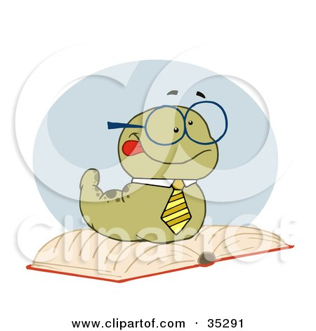 Clipart Illustration of a Smart Old Worm Wearing A Tie And Glasses, Resting On An Open Book by Hit Toon