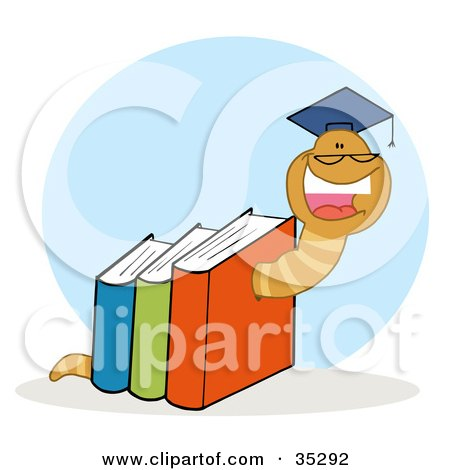 Clipart Illustration of a Happy Worm Graduate Crawling Through Colorful Books by Hit Toon