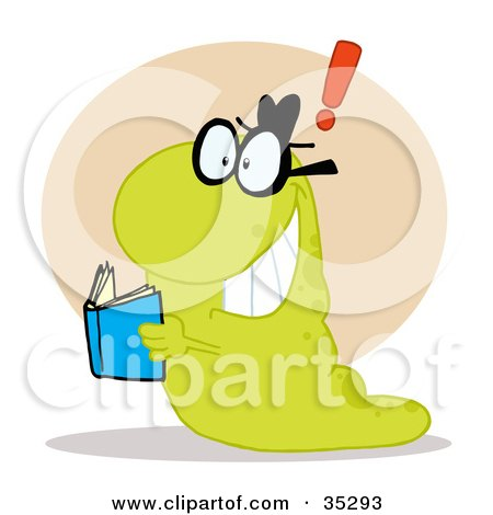 Clipart Illustration of a Green Worm Coming To A Realization While Reading A Blue Book by Hit Toon