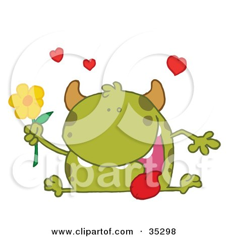 Clipart Illustration of a Loving Green Monster Sitting With His Tongue Hanging Out, Holding A Yellow Flower Under Hearts by Hit Toon