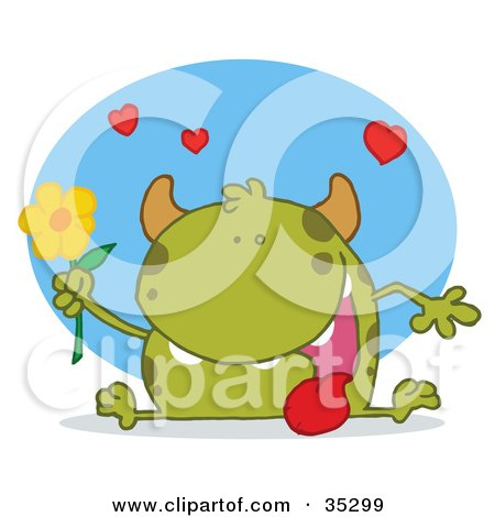 Clipart Illustration of a Sweet Green Monster Sitting With His Tongue Hanging Out, Holding A Yellow Flower Under Hearts by Hit Toon