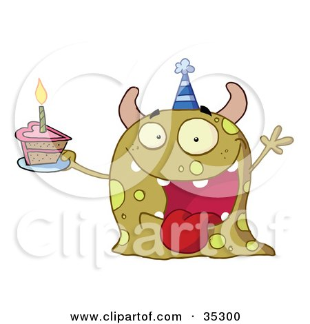 Clipart Illustration of a Happy Green Birthday Monster Wearing A Party Hat And Holding A Slice Of Cake by Hit Toon