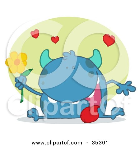 Clipart Illustration of a Sweet Blue Monster Sitting With His Tongue Hanging Out, Holding A Yellow Flower Under Hearts by Hit Toon