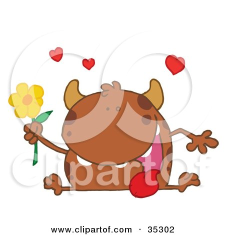 Clipart Illustration of a Loving Brown Monster Sitting With His Tongue Hanging Out, Holding A Yellow Flower Under Hearts by Hit Toon