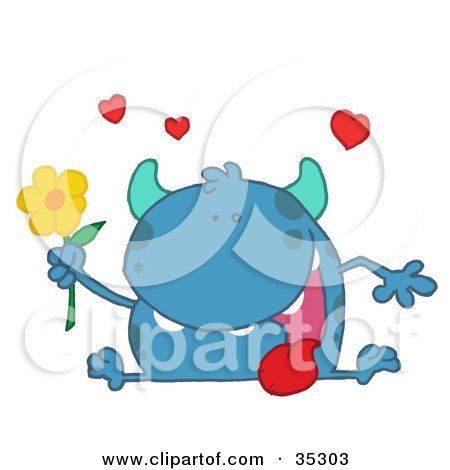 Clipart Illustration of a Loving Blue Monster Sitting With His Tongue Hanging Out, Holding A Yellow Flower Under Hearts by Hit Toon