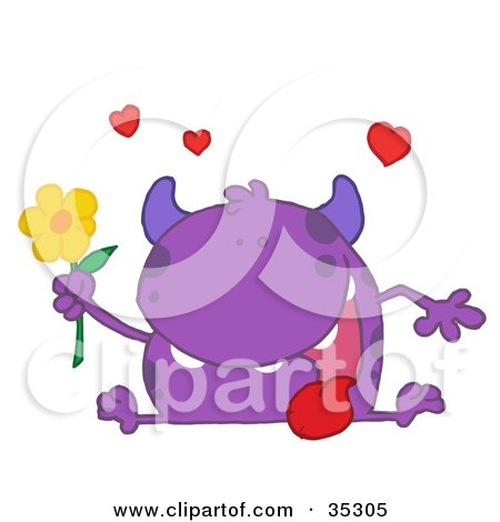 Clipart Illustration of a Loving Purple Monster Sitting With His Tongue Hanging Out, Holding A Yellow Flower Under Hearts by Hit Toon