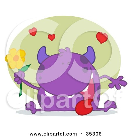 Clipart Illustration of a Sweet Purple Monster Sitting With His Tongue Hanging Out, Holding A Yellow Flower Under Hearts by Hit Toon