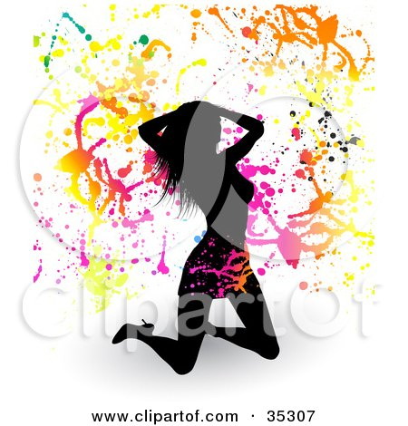 Clipart Illustration of a Sexy Black Silhouetted Woman Kneeling In A Skirt And Heels, Touching Her Hair, On A White Background With Shadows And Colorful Splatters by KJ Pargeter