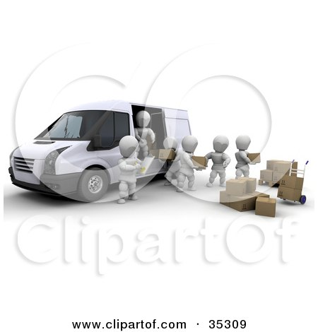 Clipart Illustration of 3d White Characters Working Together While Being Supervised As They Load Boxes In A Delivery Van by KJ Pargeter