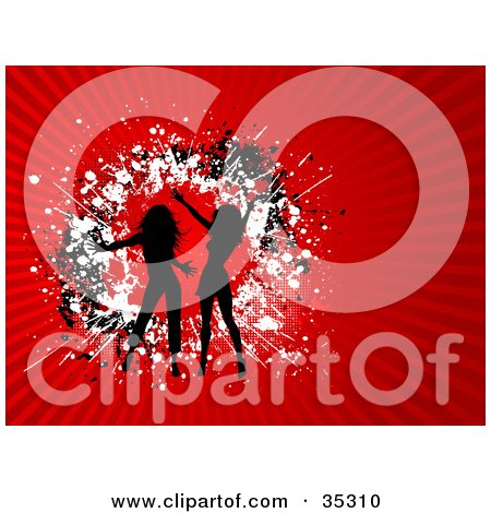 Clipart Illustration of Two Black Silhouetted Ladies Dancing Over A Circle Of Black And White Grunge On A Bursting Red Background  by KJ Pargeter