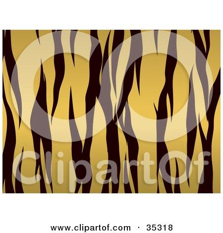 Clipart Illustration of a Tiger Fur Pattern Background With Black Stripes Over Orange by KJ Pargeter