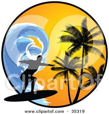 Clipart Illustration of a Black Silhouetted Surfer Riding A Large Blue Wave, Over A Circle With An Orange Sunset And Silhouetted Palm Trees by KJ Pargeter