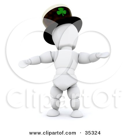 Clipart Illustration of a 3d White Character Dancing And Wearing A St Patrick's Day Hat With A Clover On It by KJ Pargeter