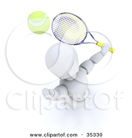 Clipart Illustration of a 3d White Character Looking Up, Preparing To Hit A Tennis Ball With A Racket by KJ Pargeter