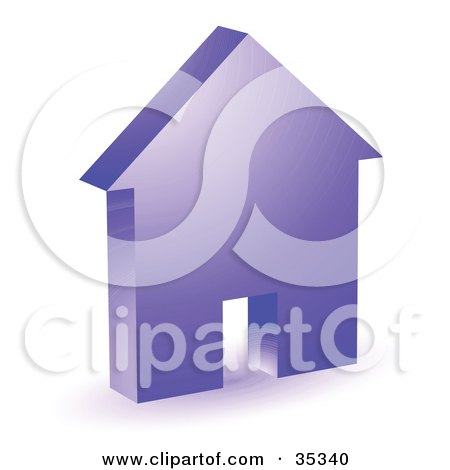 Clipart Illustration of a Purple House Icon With A Doorway by KJ Pargeter