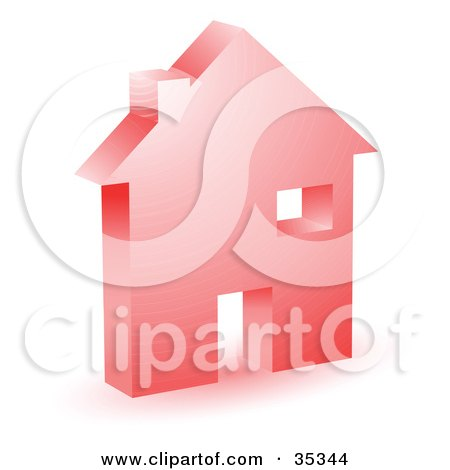 Clipart Illustration of a Red Home Icon With A Doorway, Chimney And Window by KJ Pargeter