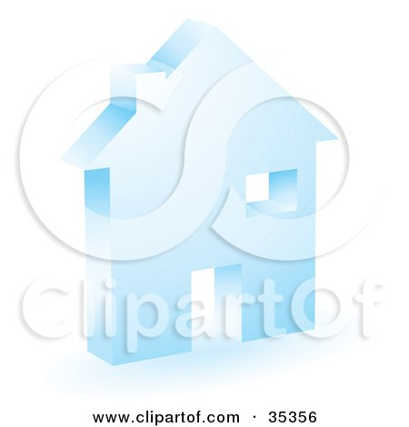 Clipart Illustration of a Blue Home Icon With A Doorway, Chimney And Window by KJ Pargeter