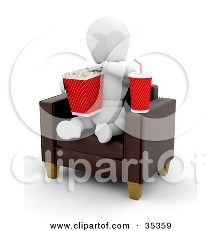 Clipart Illustration of a 3d White Character With Soda, Munching On Popcorn While Sitting In A Leather Chair At The Movies by KJ Pargeter