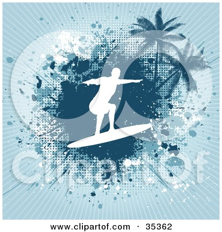 Clipart Illustration of a White Silhouetted Surfer Over A Grungy Blue Splattered Bursting Background With Palm Trees by KJ Pargeter
