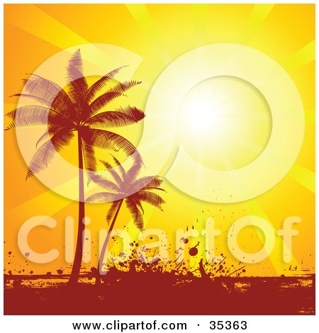 Clipart Illustration of a Bright Sunset Sun Shining Down On Silhouetted Palm Trees And Grunge by KJ Pargeter