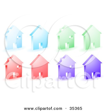Clipart Illustration of a Set Of Blue, Green, Red And Purple Home Icons by KJ Pargeter