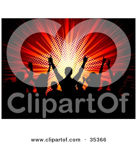 Clipart Illustration of a Silhouetted Black Audience Gesturing And Dancing In A Crowd At A Concert, With A Bursting Red Star Background by KJ Pargeter