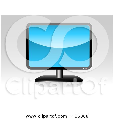 Clipart Illustration of a Black LCD Computer Or Tv Screen With A Blue Background by KJ Pargeter